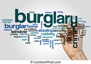 Burglary word cloud concept on grey background.