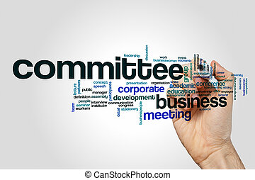 Committee word cloud on grey background.