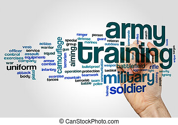 Army training word cloud concept on grey background