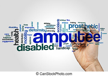 Amputee word cloud concept on grey background.