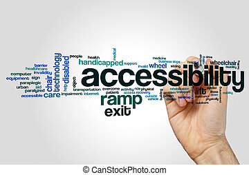 Accessibility word cloud concept on grey background.