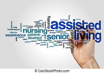 Assisted living word cloud concept on grey background.
