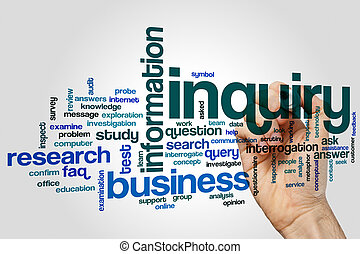 Inquiry word cloud concept on grey background
