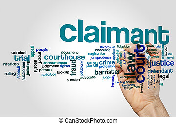 Claimant word cloud concept on grey background.
