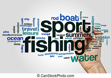 Sport fishing word cloud concept on grey background
