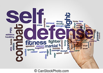 Self defense word cloud concept on grey background