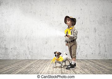 Frienship - Little boy with dog in studio