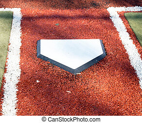 Home plate on a turf baseball field
