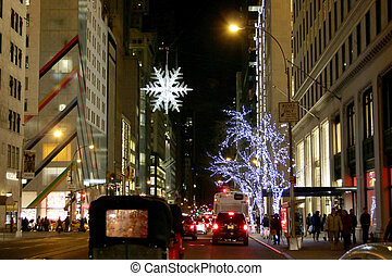 New York City Street Sceene on during the Cristmas Holidays...