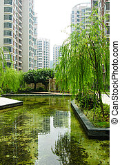 Central garden in a new residential district