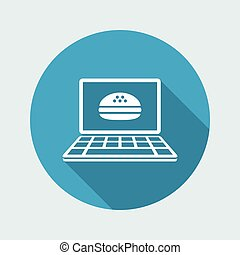 Fast food online - Vector flat icon