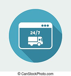 Online delivery services 24/7 - Vector flat icon