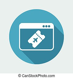 Online booking airplane ticket - Vector icon for computer website or application