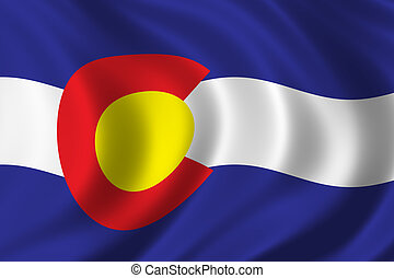 Flag of Colorado waving in the wind
