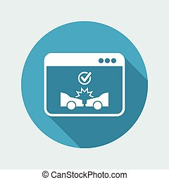 Online insurance car services - Vector flat icon