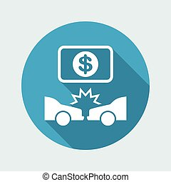 Car insurance payment - Dollars - Vector flat icon