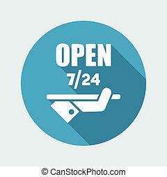 Constantly open - Shop services 7/24 - Vector web icon