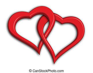 dois, corações, entrelaçado