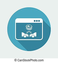 Online insurance car payment - Euro - Vector flat icon