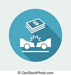 Car insurance payment - Dollars - Vector web icon