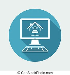 Home network modem - Vector icon of computer application