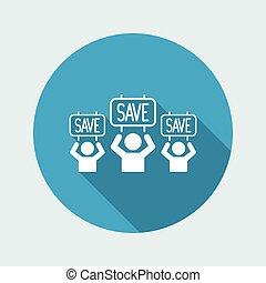 """""""Save"""" concept - Vector web icon"""