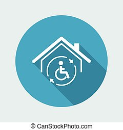Residential handicap full assistance - Vector web icon