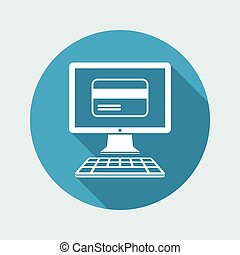 Online shop button - Credit card - Vector flat icon
