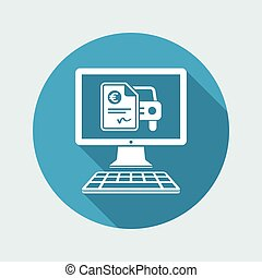 Automotive online quote - Euro - Vector flat icon