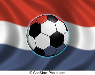 Soccer in the Netherlands - Soccer ball and the flag of the...