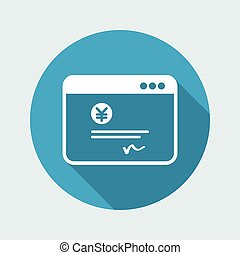 Financial document - Yen - Vector flat icon