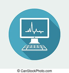 EKG on computer screen - Vector flat icon