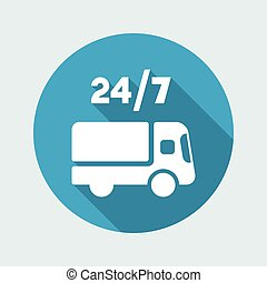 Steady delivery services 24/7 - Vector web icon
