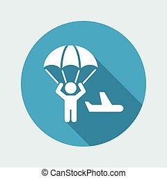 Parachuting concept - Minimal vector icon
