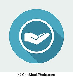 Hand in gesture of charity - Vector minimal icon