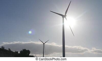 Wind turbines on the sunset