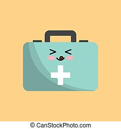 kawaii first aid kit icon over yellow background. colorful...