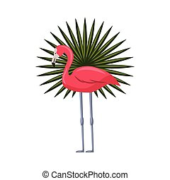 pink flamingo icon - pink flamingo and tropical leaf over...