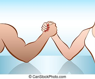 Man Woman Arm Wrestling Battle Of The Sexes - Man and woman...