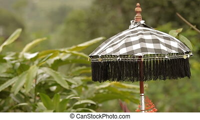 Religious trapping of Buddhism - umbrella. Natural...