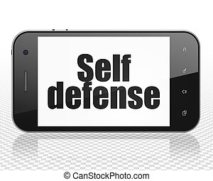 Protection concept: Smartphone with Self Defense on display...