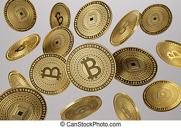 Close up of golden bitcoins tossed into the air as example...