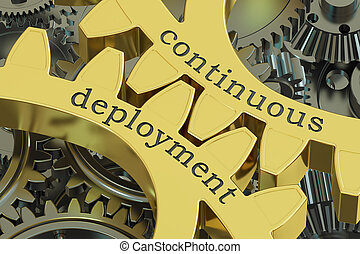 continuous deployment concept on the gears, 3D rendering