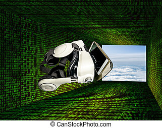 Helmet of virtual reality against the background of matrix...