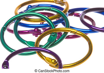 Colourful Card Rings Macro Isolated