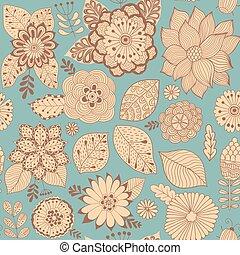 Vector flower pattern. Colorful seamless botanic texture,...