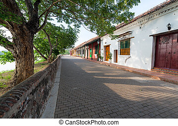 Tree Lined Street in Mompox - Beautiful idyllic tree lined...