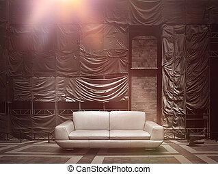 Dramaatic leather sofa on stage canvas background