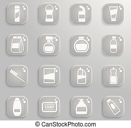 Houshold chemicals icons set - Houshold chemicals black...