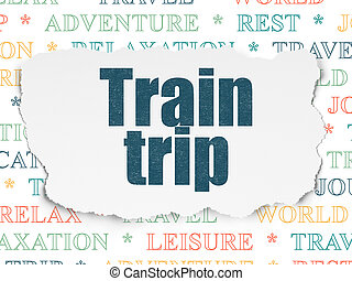 Tourism concept: Train Trip on Torn Paper background